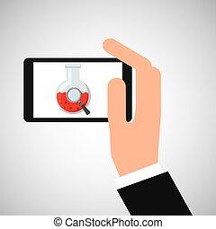 beaker, ter, smartphone, mão