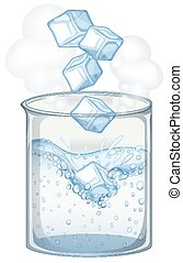 Beaker with ice and water on white background
