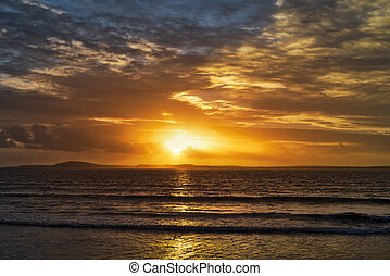 beal, orangel, strahlen, sonnenuntergang- strand