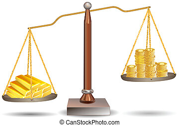 beam balance with dollar coins and gold bars