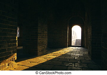 Beam in tower of China great wall