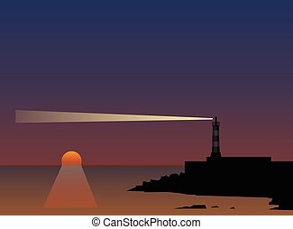 Beam of a lighthouse at sunset