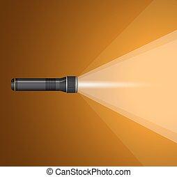 beam of light from  flashlight. Black metal .