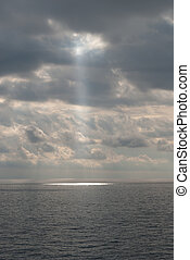 beam of light through the clouds in Portofino