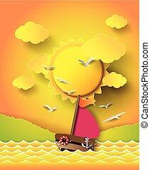 beam., sol, nuvens, bote, velejando