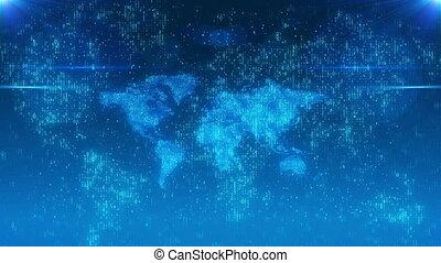 beaming, beetjes, op, een, digitale wereld, kaart
