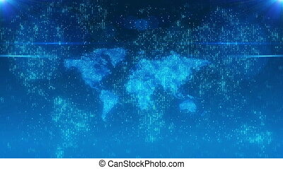 Beaming bits on a digital world map - Futuristic 3d...