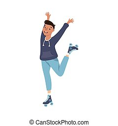 Beaming Man Character Dancing on Roller Skates Performing Tricky Movement Vector Illustration. Young Male Roller Skating Engaged in Sport or Hobby Outdoor Activity Concept