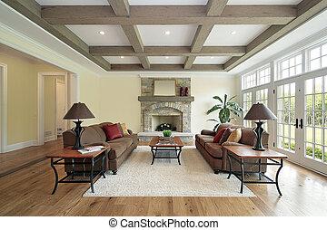 beams, потолок, дерево, комната, семья