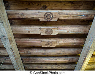 Massive old wooden beams in the old house