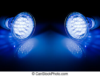 Beams of led lamps  - Blue beams of two led lamps