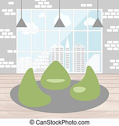 Bean bag chair with city view from window. Good idea for office workplace interior, co working freelance center. Open space. Flat concept vector illustration.