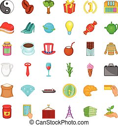 Bean icons set, cartoon style