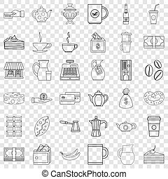 Bean icons set, outline style