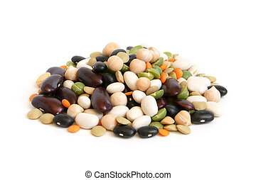 Bean mix on a white background