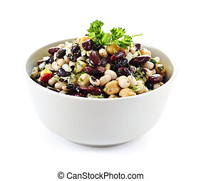 Bean salad - Isolated vegeterian salad of various beans in...