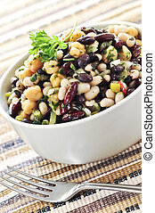 Bean salad - Vegeterian salad of various beans in bowl close...