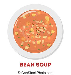Bean soup in a white plate. Tasty meal in a bowl