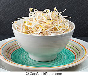 Bean Sprouts of black slate tray - Plate of bean sprouts of...