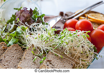 Bean sprouts with p?t?, close up