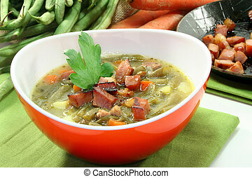 Bean stew - Bean soup with roasted bacon and lovage