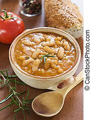 Bean stew - White bean stew with bread close up