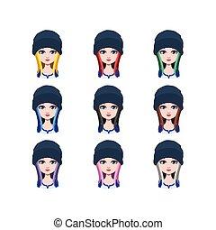 beanie, ∥髪をした∥, -, 別, 長い髪, 色, 9, 女の子