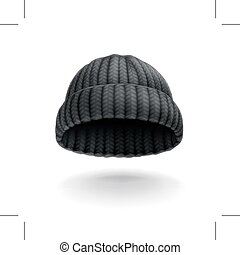 Beanie, black cap, vector icon