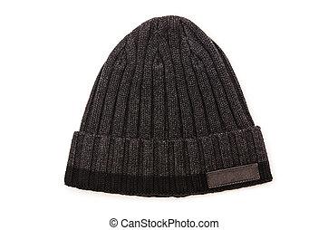 beanie, chapeau blanc, isolé, fond