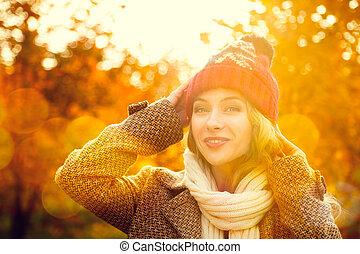 beanie, femme, jeune, automne, fond, chapeau