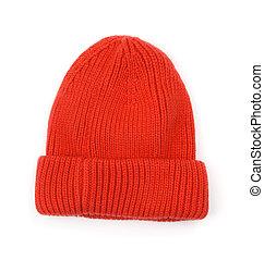 beanie, tricotado, chapéu, lã, vermelho