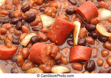 beans and hot dog stew - macro brown and black beans with...