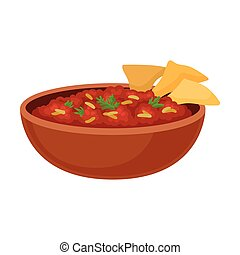 Beans and Nachos Chips. Vector illustration on white background.