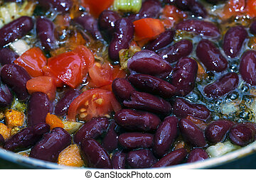 Beans and tomato in a pan