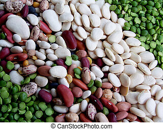 Assorted dehydrated beans.