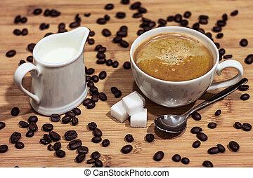 beans, board, coffee, cup, drink, food, milk, restaurant, spoon, sugar, wood,