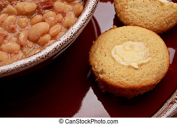 Beans CB BP Close - Close up shot of bean soup and buttered ...