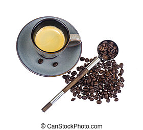 Beans, coffee in cup
