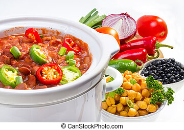 Pinto and garbanzo beans cooked in slow cooker with vegetables.