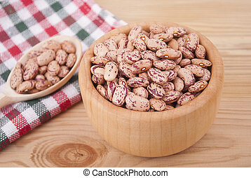 Beans in a bowl on the table.