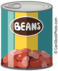 Beans in aluminum can