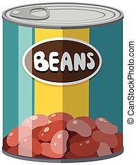 Beans in aluminum can