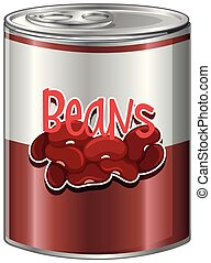 Beans in aluminum can on white background