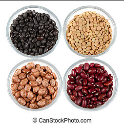 beans in glass containers isolated on white