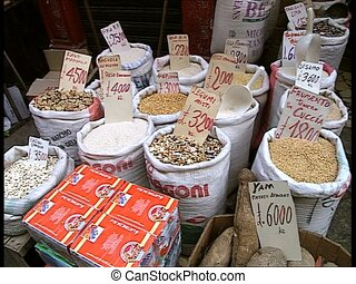 Beans in sacks sold at marketplace