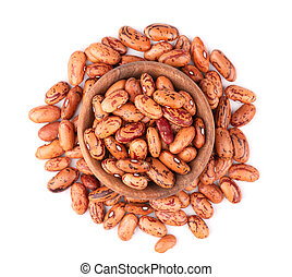 Beans in wooden bowl, isolated on white background. Top view.