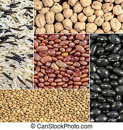 Beans, lentils, rice, chickpeas - A healthy mixture of...