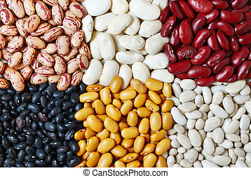 Mixture of six diferent type of colorful beans