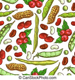 Beans, nuts, seeds vector seamless pattern