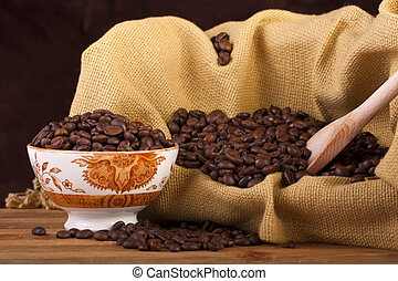 beans of coffee on a bowl